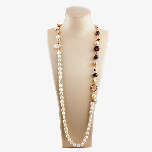 Collana perle e granato