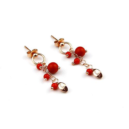 Orecchini corallo bamboo rosso - Grapes
