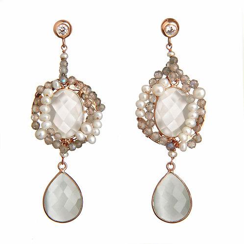 Orecchini Sposa - labradorite, perle bianche e zirconi