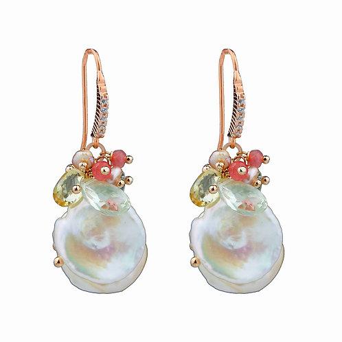 Orecchini quarzi multicolor e perle Keshi - Collezione Waterlily
