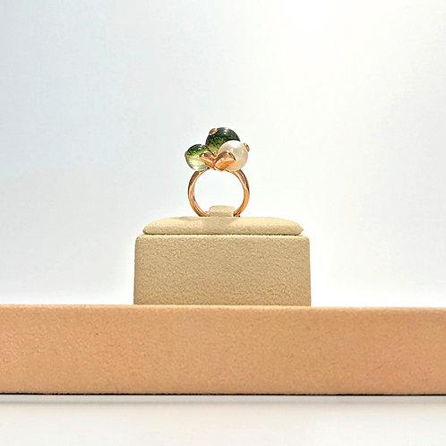 Anello perla coltivata e quarzo verde muschiato - Modello 3 Sfere