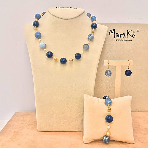 Gioielli agata blu, agata web e perle coltivate