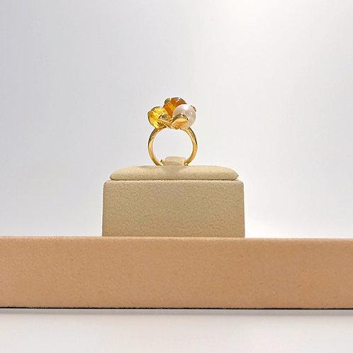 Anello perla coltivata e ambra messicana - Modello 3 Sfere