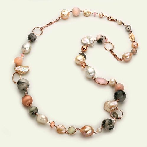 Collana lunga - diaspro, opale rosa, quarzo grigio e perle coltivate
