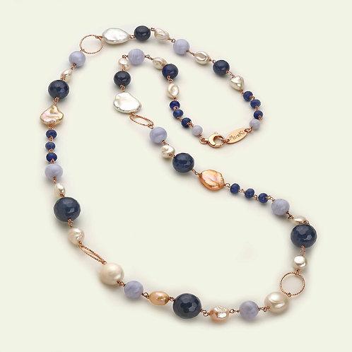 Collana lunga - agata blu zaffiro, calcedonio e perle coltivate