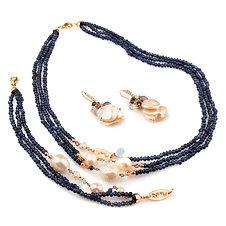 Gioielli agata blu zaffiro, acquamarina, iolite e perle - Collezione Waterily