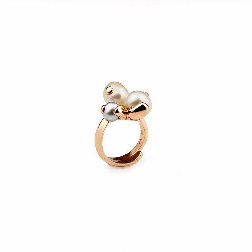 Anello perle coltivate - bianca, rosa e grigia - Modello 3 Sfere