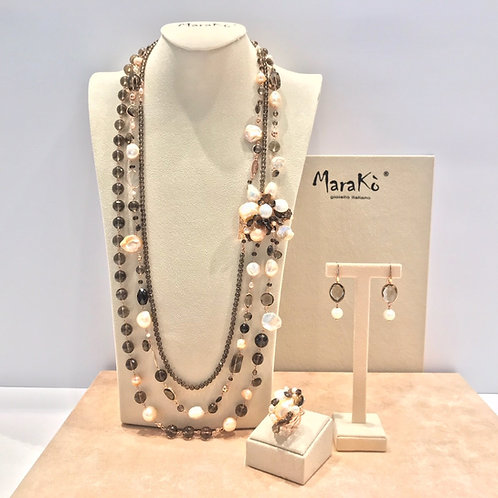Gioielli quarzo fumé e perle coltivate - Pezzi Unici