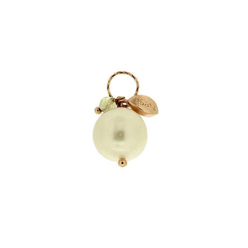Ciondolo Melina perla e quarzo verde chiaro diamond