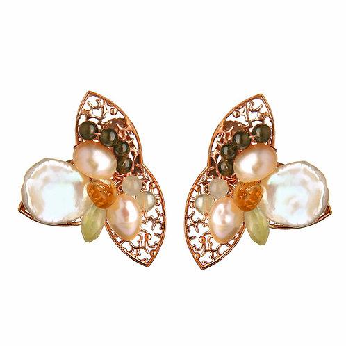 Orecchini clip, quarzi, ossidiana e perle coltivate