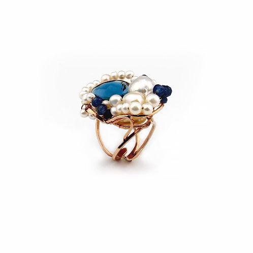 Anello agata blu zaffiro e perle coltivate