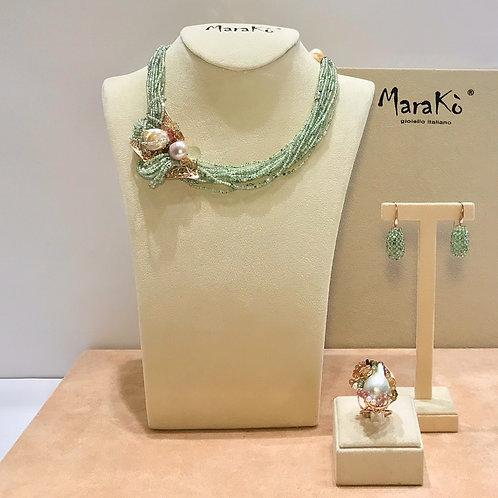 Gioielli quarzo rutilato verde diamond, tormaline e perle coltivate