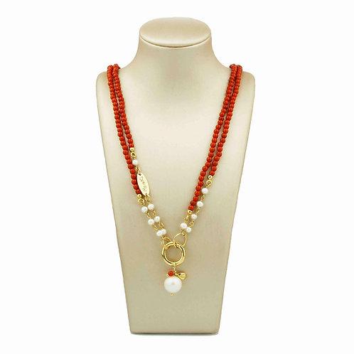 Collana corallo bamboo rosso e perle - Le Meline - special edition