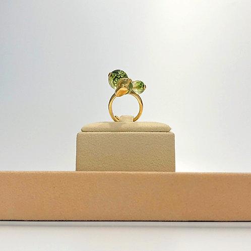 Anello quarzo verde muschiato e quarzo citrino - Modello 3 Sfere