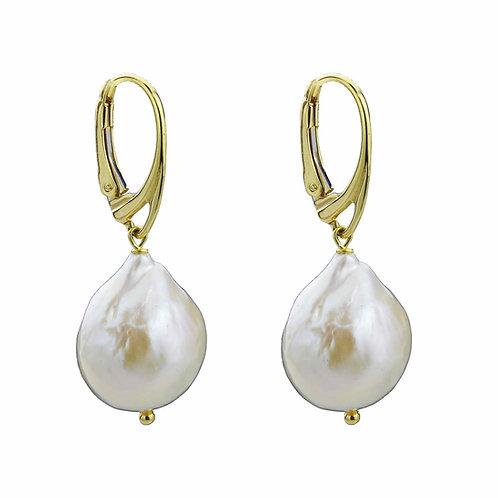Orecchini perle barocche bianche coltivate - oro