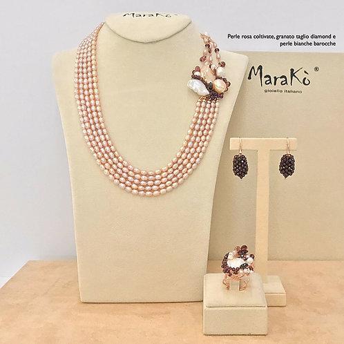 Gioielli perle rosa e bianche coltivate e granato diamond | Pezzi Unici
