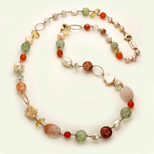 Collana lunga - quarzi multicolor e perle coltivate