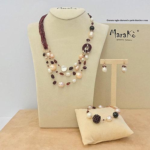 Gioielli granato diamond e perle bianche e rosa