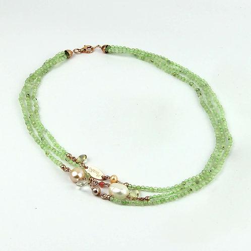 Collana quarzo rutilato verde chiaro diamond e perle - Collezione Waterlily
