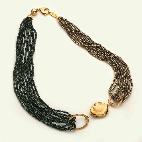 Collana ematite galvanizzata oro e agata nera