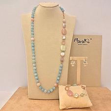 Gioielli acquamarina multicolor e perle coltivate