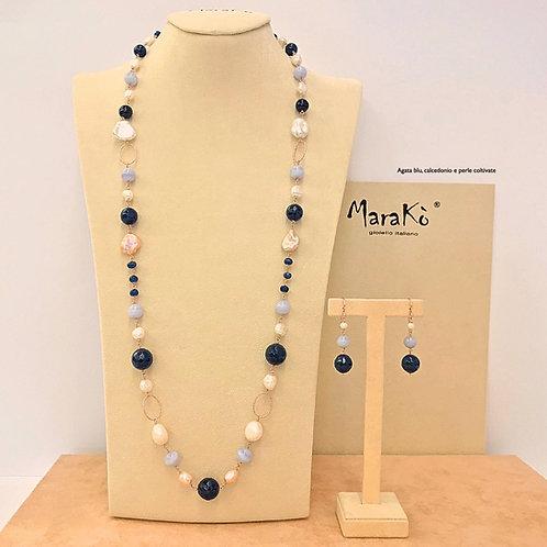 Gioielli agata blu, calcedonio e perle coltivate