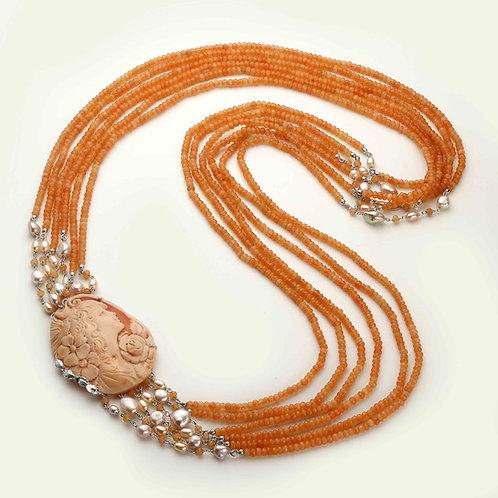 Collana Cammeo inciso a mano, agata arancione e perle - Pezzi Unici