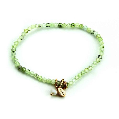 Bracciale elastico quarzo verde diamond