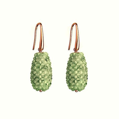 Orecchini gocce tessute a mano in quarzo rutilato verde diamond - piccole