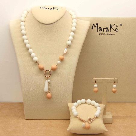 Gioielli corallo bamboo rosa e agata bianca - Collezione Capricci Essential