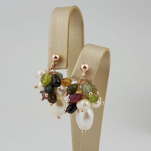 orecchini perle tormaline
