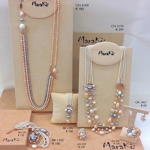 Perle bianche, grigie e rosa