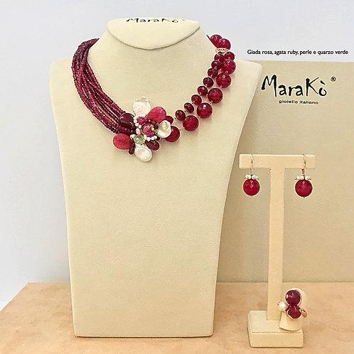 Gioielli giada rosa, agata ruby, perle coltivate e quarzo verde
