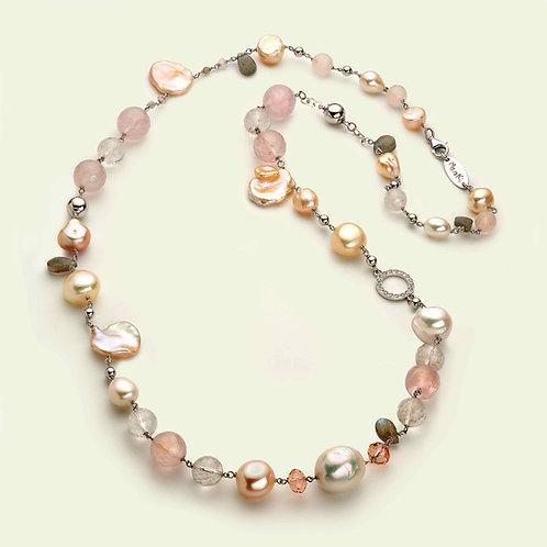 Collana lunga - quarzo rosa, labradorite e perle coltivate