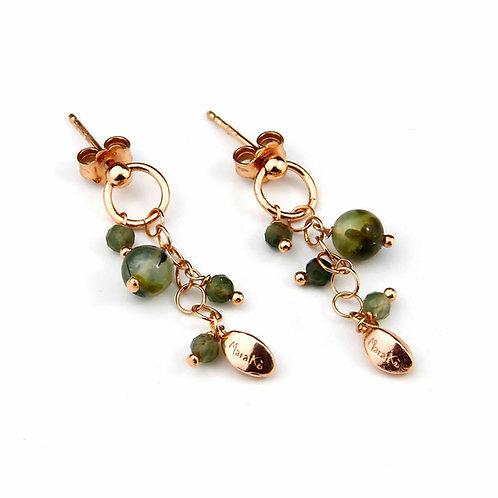Orecchini quarzo verde scuro diamond - Grapes