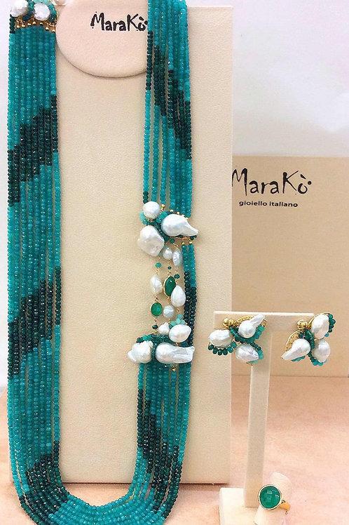 Agata verde smeraldo e perle bianche coltivate