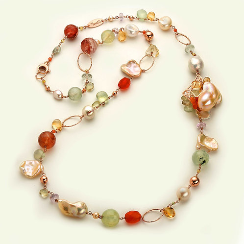 Collana lunga - quarzi multicolor e perle coltivate - Pezzi Unici