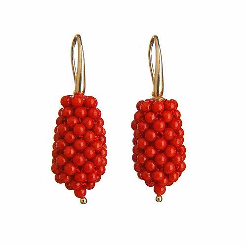 Orecchini gocce tessute a mano in corallo bamboo rosso - piccole