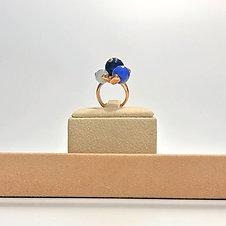 Anello agata blu, agata web e giada celeste - Modello 3 Sfere