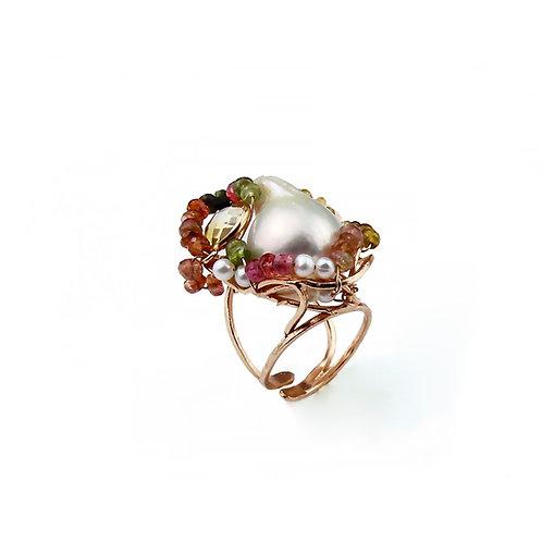 Anello tormalina e perle coltivate