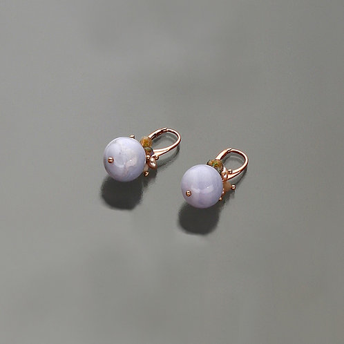 Orecchini calcedonio, labradorite,opale rosa diamond e perle coltivate