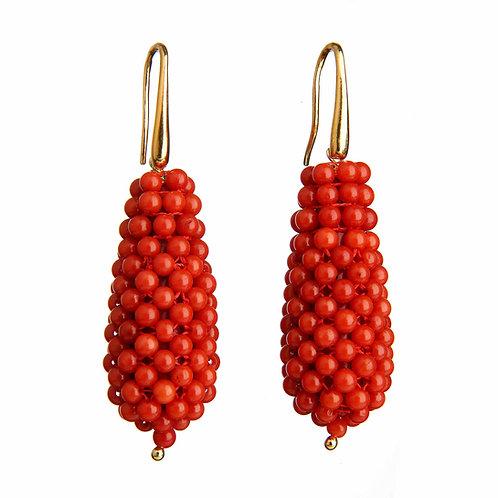 Orecchini gocce tessute a mano in corallo bamboo rosso - grandi