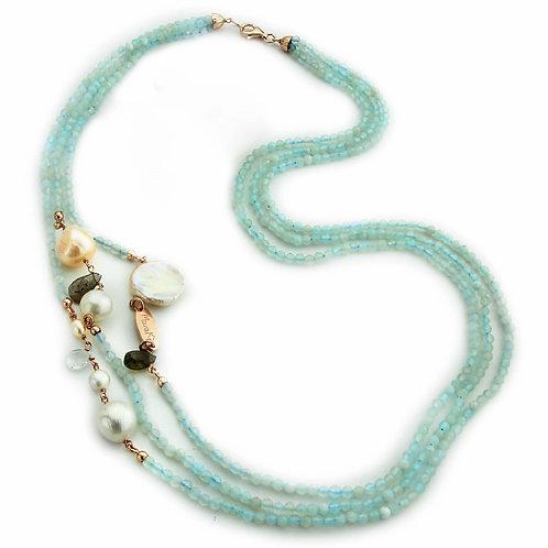 Collana acquamarina diamond e perle - Collezione Waterlily