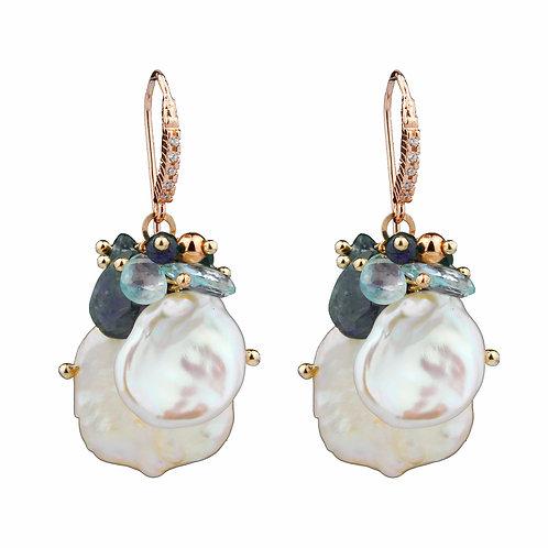 Orecchini iolite, acquamarina e perle Keshi - Collezione Waterlily