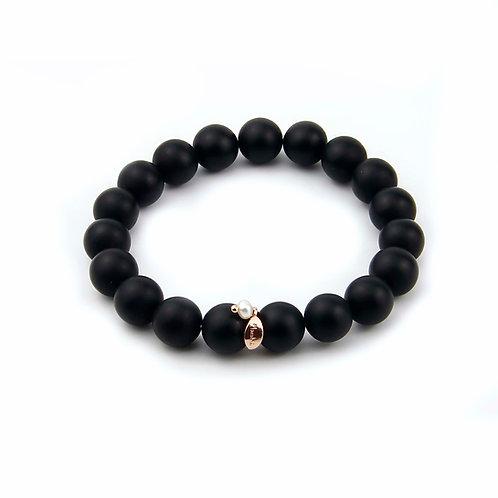 Bracciale elastico agata nera satinata - Lei
