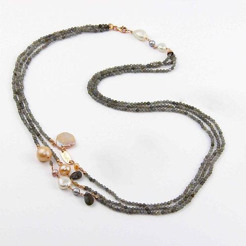 Collana labradorite diamond e perle - Collezione Waterlily
