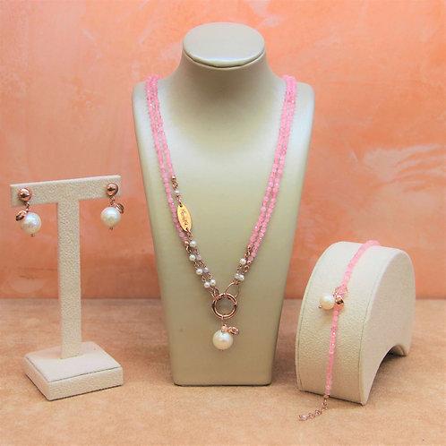 Gioielli quarzo rosa diamond e perle bianche colt. - Collezione Le Meline