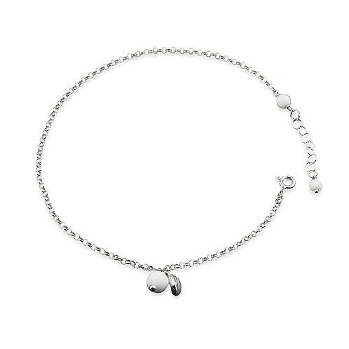 cavigliera argento con pietra bianca