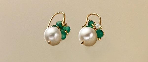 Orecchini perle coltivate e agata verde smeraldo
