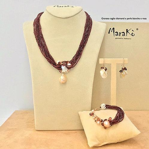 Gioielli granato diamond, perle barocche e perle Keshi bianche e rosa